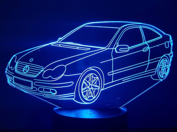 MERCEDES CL 203 - 3D LED ambient lamp, laser engraving on acrylic, battery power or USB cable