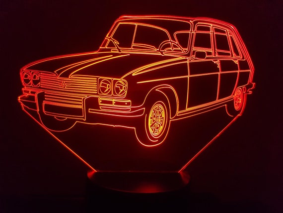 RENAULT R16 - Mood lamp 3D led, laser engraving on acrylic, power by USB cable or batteries