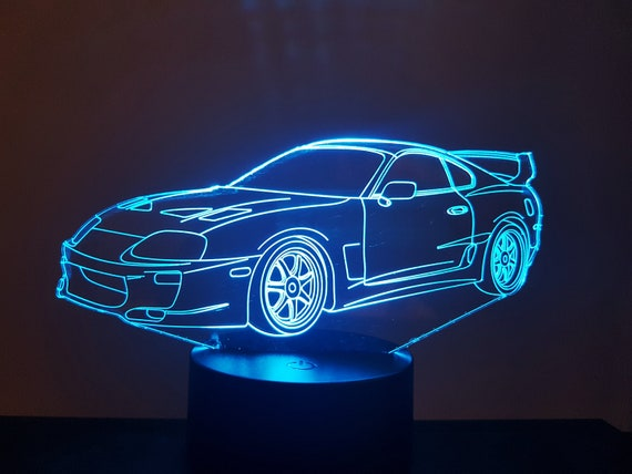 TOYOTA SUPRA - Mood lamp 3D led, laser engraving on acrylic, usb cable or battery power.
