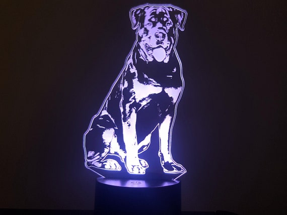 ROTTWEILER dog - Mood lamp 3D led, laser engraving on acrylic, power by USB cable or batteries