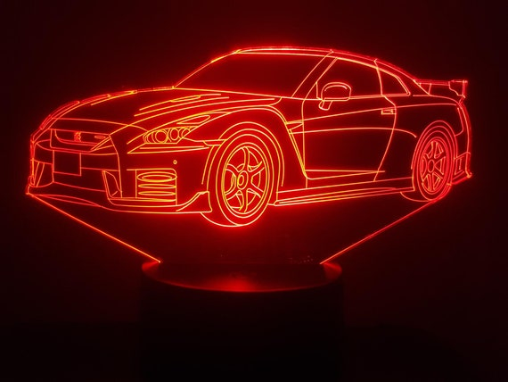 NISSAN GTR R35 (bis) - mood lamp 3D led, laser engraving on acrylic, power by USB cable or batteries