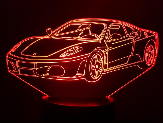 FERRARI F430 - Mood lamp 3D led, laser engraving on acrylic, usb cable or battery power.