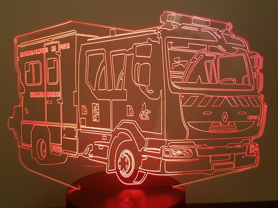 PSE5G Paris BSPP fireman fire truck - Mood lamp 3D led, laser engraving on acrylic, usb cable or battery power.