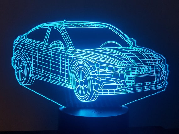 AUDI A5 - Mood lamp 3D led, laser engraving on acrylic, usb cable or battery power.