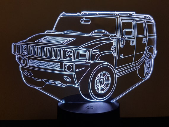 HUMMER H2 - Mood lamp 3D led, laser engraving on acrylic, usb cable or battery power.
