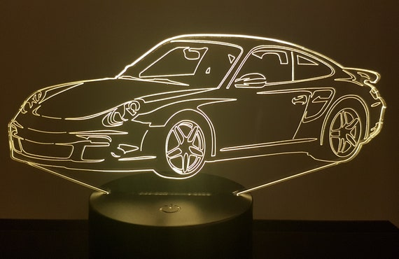 P. 911-997 coupe - 3D LED mood lamp, laser engraving on acrylic, battery power or USB cable