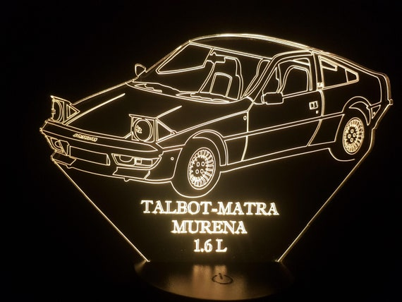 TALBOT MATRA MURENA 1.6 L - mood lamp 3D led, laser engraving on acrylic, usb cable or battery power.