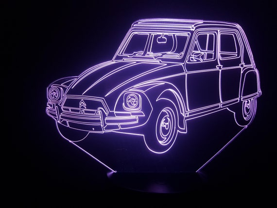 Citroen DYANE - Mood lamp 3D led, laser engraving on acrylic, power by USB cable or batteries