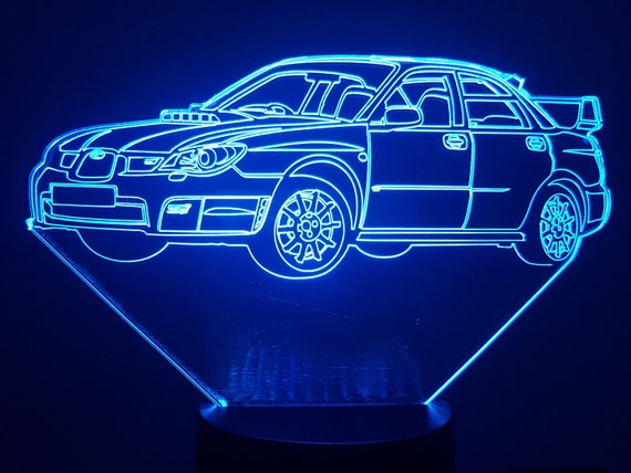 SUBARU Impreza WRX - Mood lamp 3D led, laser engraving on acrylic, power by USB cable or batteries