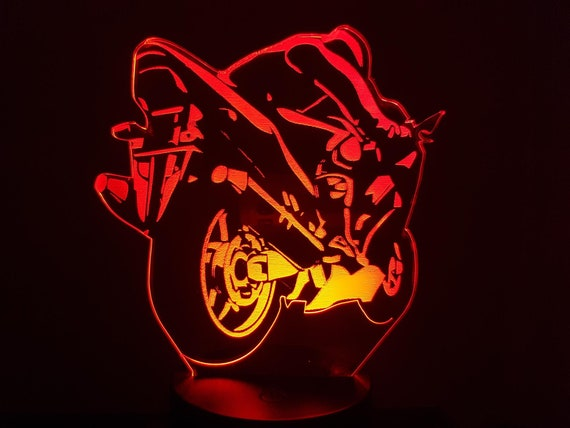 (Back view) motorcycle - mood lamp 3D led, laser engraving on acrylic, power by USB cable or batteries