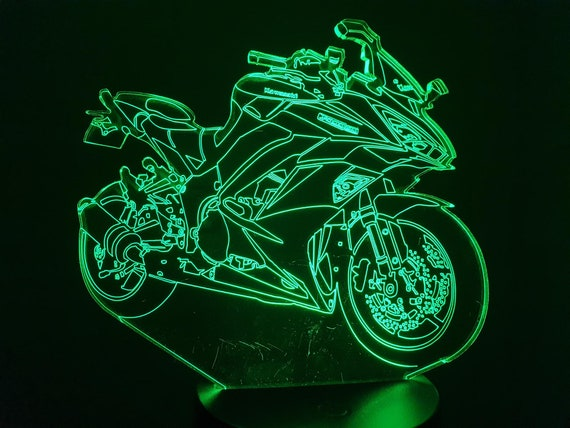 MOTORCYCLE KAWASAKI 1000SX-led 3D ambient lamp, laser engraving on acrylic, battery power or USB cable.