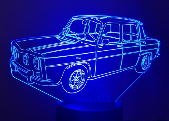 RENAULT R8 GORDINI - Mood lamp 3D led, laser engraving on acrylic, power by USB cable or batteries