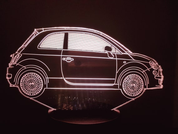 FIAT 500 NEW - Mood lamp 3D led, laser engraving on acrylic, usb cable or battery power.