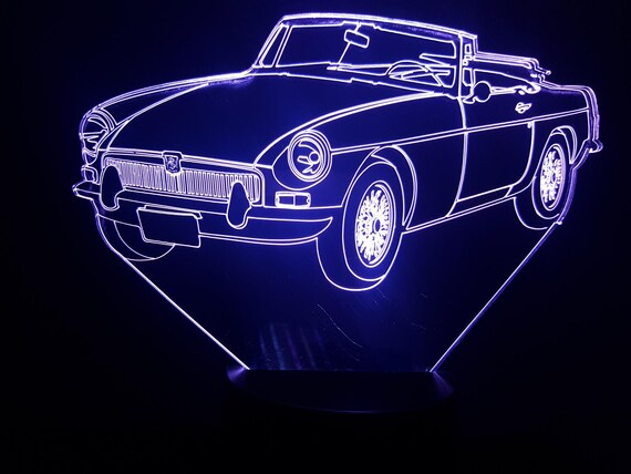 MG B - Mood lamp 3D led, laser engraving on acrylic, usb cable or battery power.