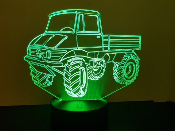 MERCEDES UNIMOG - Mood lamp 3D led, laser engraving on acrylic, usb cable or battery power.