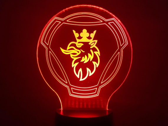 SCANIA - Mood lamp 3D led laser engraving on acrylic, power by USB cable or batteries