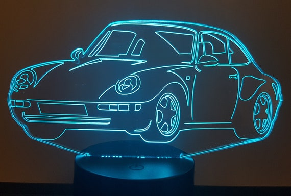 PORSCHE 993 911 Targa - mood lamp 3D led, laser engraving on acrylic, power by USB cable or batteries