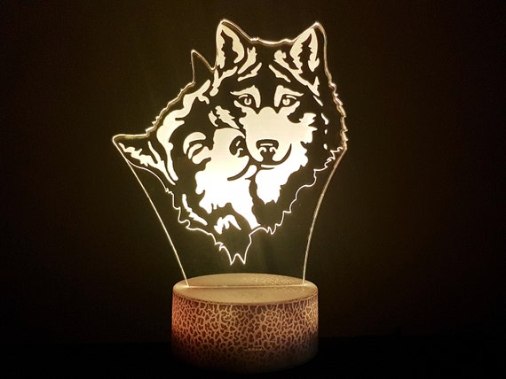 PAIR of wolves - Mood lamp 3D led, laser engraving on acrylic, power by usb cable or batteries