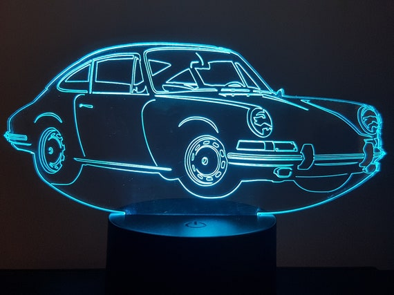 PORSCHE 911 Cup (1964) - mood lamp 3D led, laser engraving on acrylic, power by USB cable or batteries