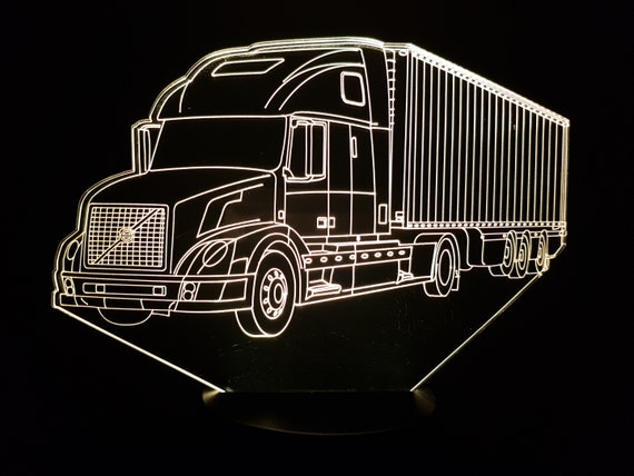 VOLVO truck - Mood lamp 3D led, laser engraving on acrylic, usb cable or battery power.