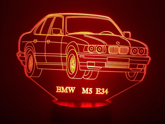 BMW E34 M5 - Mood lamp 3D led, laser engraving on acrylic, power by USB cable or batteries