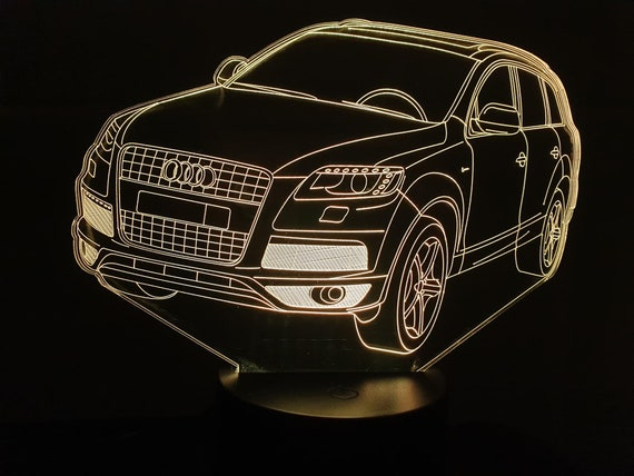 AUDI Q7 - Mood lamp 3D led, laser engraving on acrylic, usb cable or battery power.