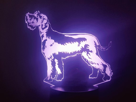 SCHNAUZER dog - Mood lamp 3D led, laser engraving on acrylic, power by USB cable or batteries