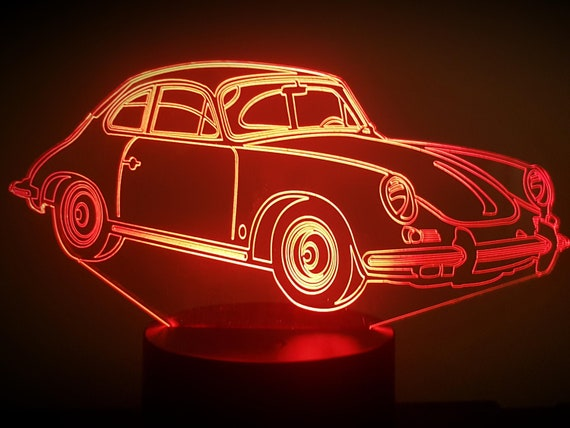 PORSCHE 356 - Mood lamp 3D led, laser engraving on acrylic, power by USB cable or batteries