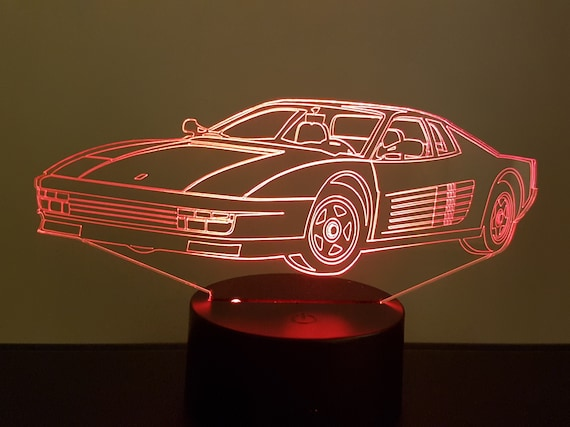 FERRARI TESTAROSSA compatible design - 3D LED ambient lamp, laser engraving on acrylic, battery power or USB cable.