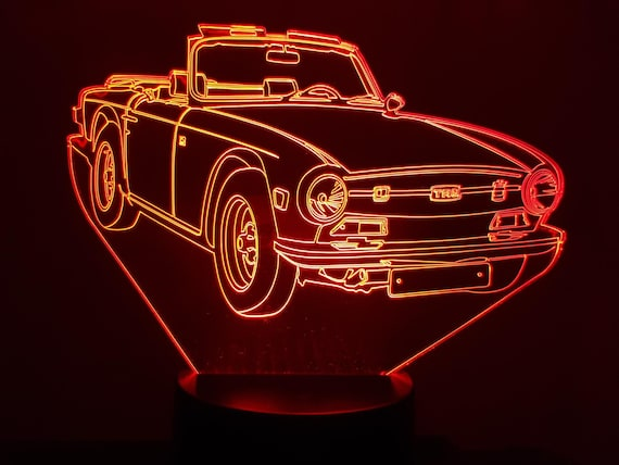 TRIUMPH TR6 - Mood lamp 3D led, laser engraving on acrylic, usb cable or battery power.