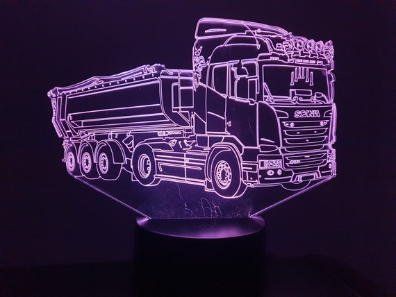 SCANIA semi-trailer compatible drawing - 3D LED mood lamp, laser engraving on acrylic, battery power or USB cable