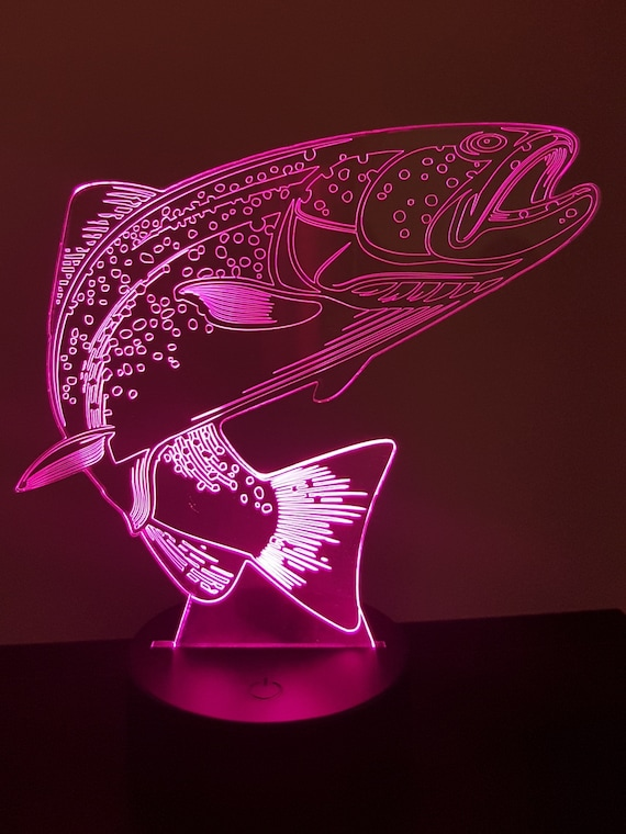 Trout - Mood lamp 3D led, laser engraving on acrylic, power by USB cable or batteries