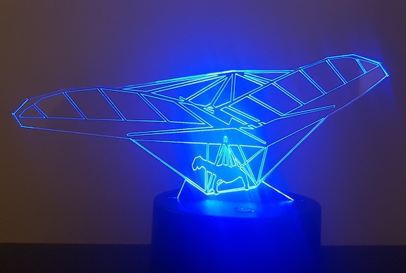 Hang - Mood lamp 3D led, laser engraving on acrylic, power by USB cable or batteries
