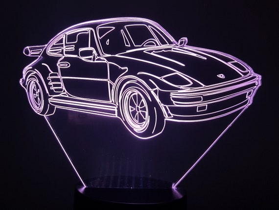 PORSCHE 924 - Mood lamp 3D led, laser engraving on acrylic, power by USB cable or batteries