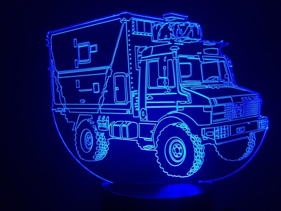 MERCEDES UNIMOG with shelter - mood lamp 3D led, laser engraving on acrylic, power by USB cable or batteries