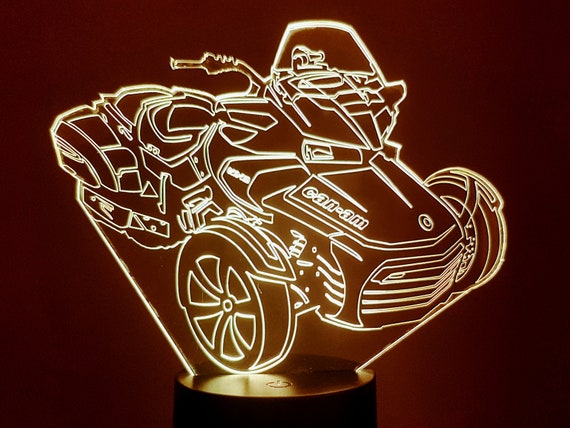 MOTORCYCLE CAN - AM - mood lamp 3D led, laser engraving on acrylic, usb cable or battery power.