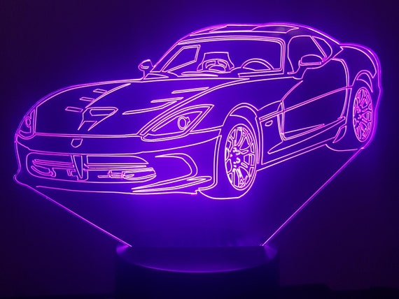 DODGE VIPER - Mood lamp 3D led, laser engraving on acrylic, usb cable or battery power.