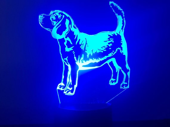 BEAGLE dog - Mood lamp 3D led, laser engraving on acrylic, power by USB cable or batteries