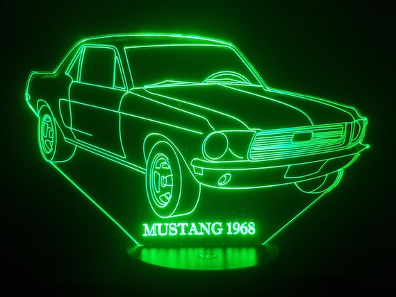 FORD MUSTANG 1968 - Mood lamp 3D led, laser engraving on acrylic, usb cable or battery power.