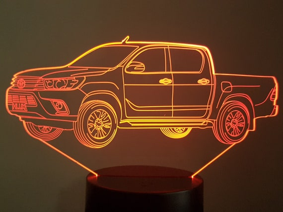TOYOTA HILUX - Mood lamp 3D led, laser engraving on acrylic, power by USB cable or batteries