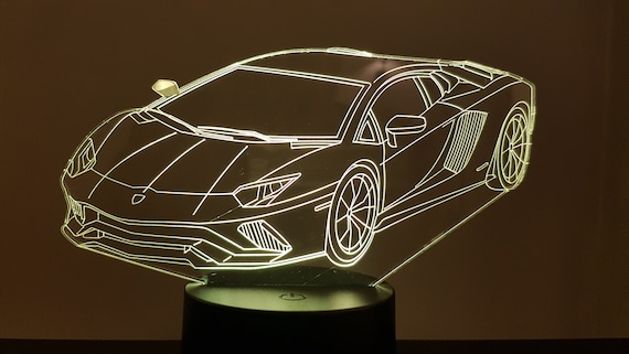 LAMBORGHINI - Mood lamp 3D led, laser engraving on acrylic, usb cable or battery power.