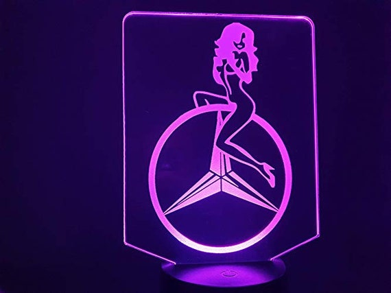 MERCEDES GIRL Truck- 3D LED ambient lamp, laser engraving on acrylic, battery power or USB cable