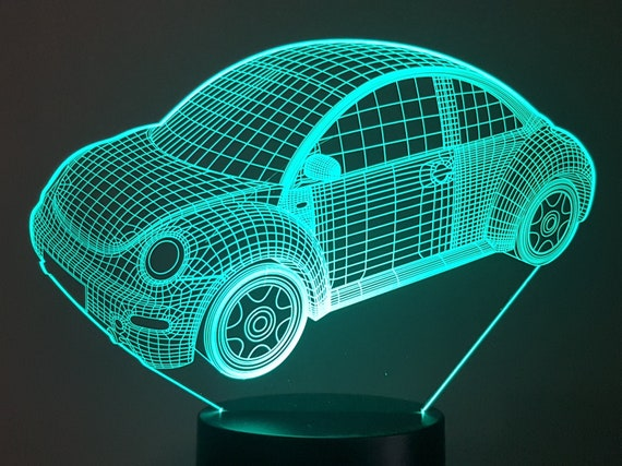 COX VOLKSWAGEN new beetle VW - mood lamp 3D led, laser engraving on acrylic, usb cable or battery power.