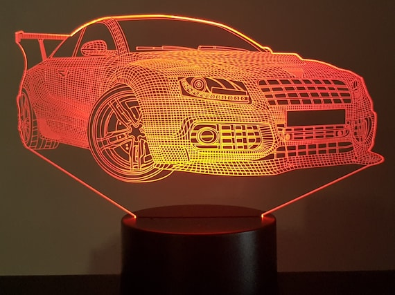 NISSAN GTR - Mood lamp 3D led, laser engraving on acrylic, power by USB cable or batteries