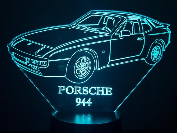 PORSCHE 944 - Mood lamp 3D led, laser engraving on acrylic, power by USB cable or batteries