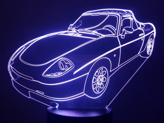 FIAT Barchetta - Mood lamp 3D led laser engraving on acrylic, power by USB cable or batteries