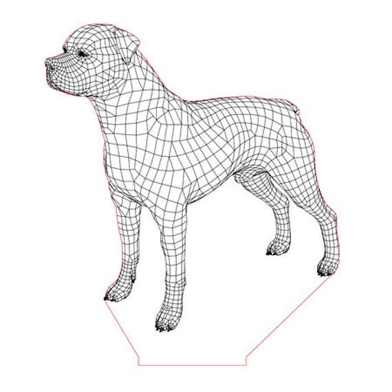 Lamp 3D pattern: dog Rottweiler