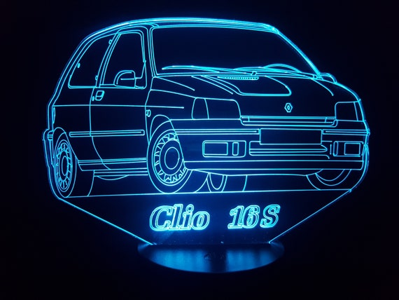 RENAULT CLIO 16s - Mood lamp 3D led, laser engraving on acrylic, power by USB cable or batteries