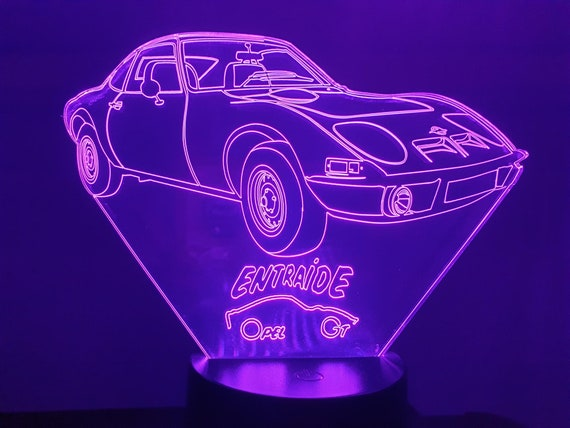 """OPEL GT 1900 special """"ENTRAIDE""""-led 3D ambient lamp, laser engraving on acrylic, battery power or USB cable"""