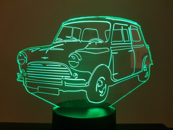 AUSTIN MINI COOPER S 1275 - Mood lamp 3D led, laser engraving on acrylic, usb cable or battery power.